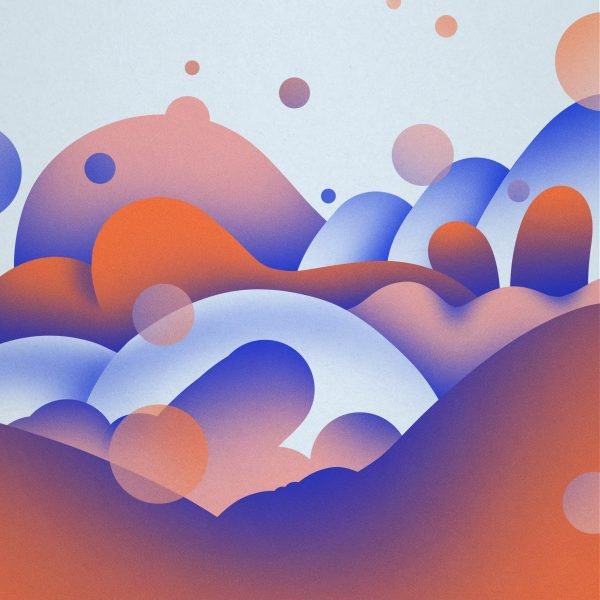 image shows ethereal rounded shapes, some resembling sexual symbols, in pinks, oranges, and blues.